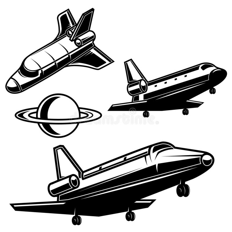 Set of space shuttle icons on white background. Design element for logo, label, emblem, sign, poster, card stock illustration