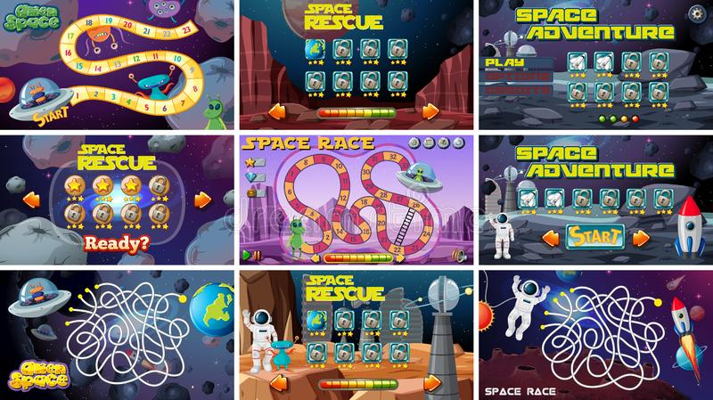 Set of space themed board games vector illustration