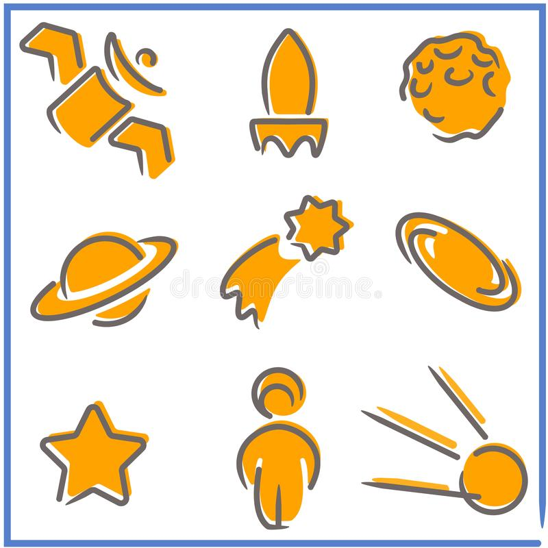 Set of space-themed symbols in a very simple style vector illustration
