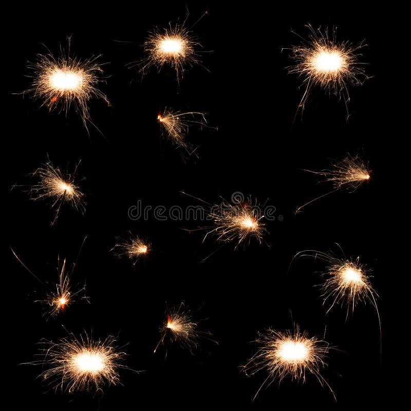 Set of sparkler royalty free stock photos