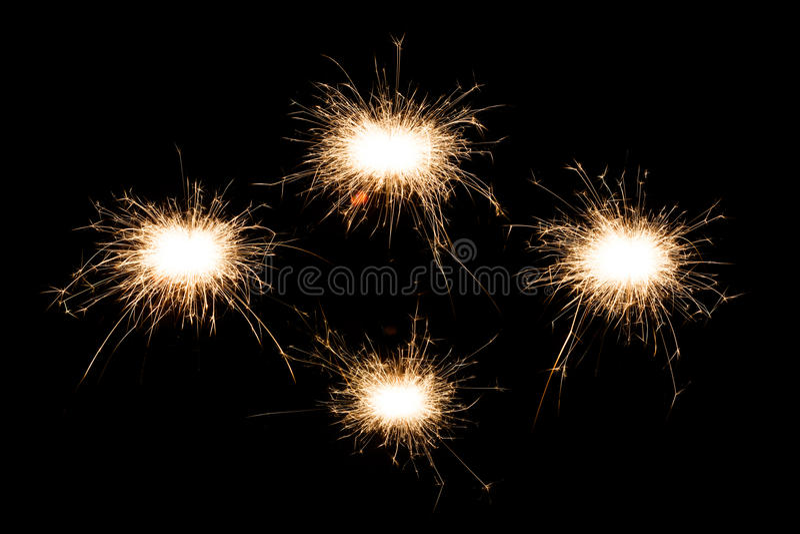 Set of sparkler on black background. royalty free stock photo