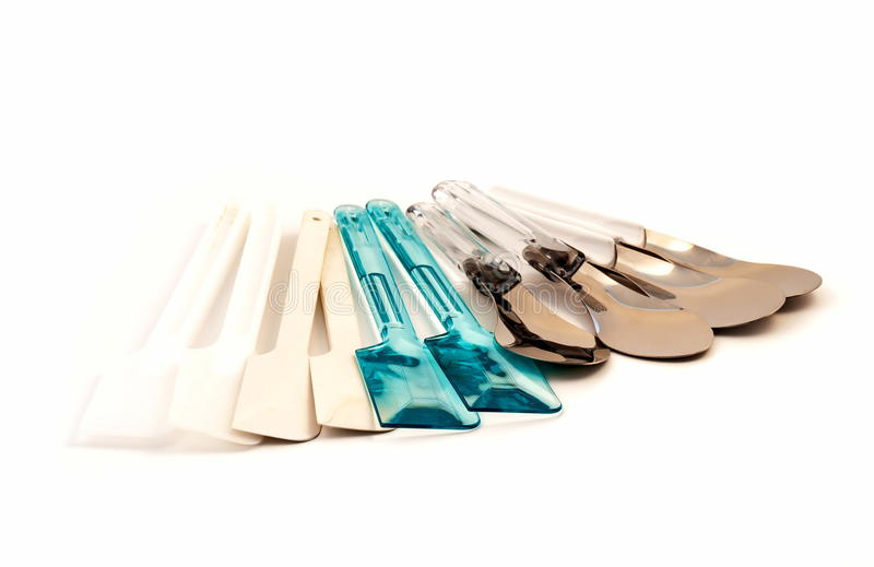 Set of spatula kitchen ware tool. Set of plastic and metal spatula kitchen ware tools on white background royalty free stock photography