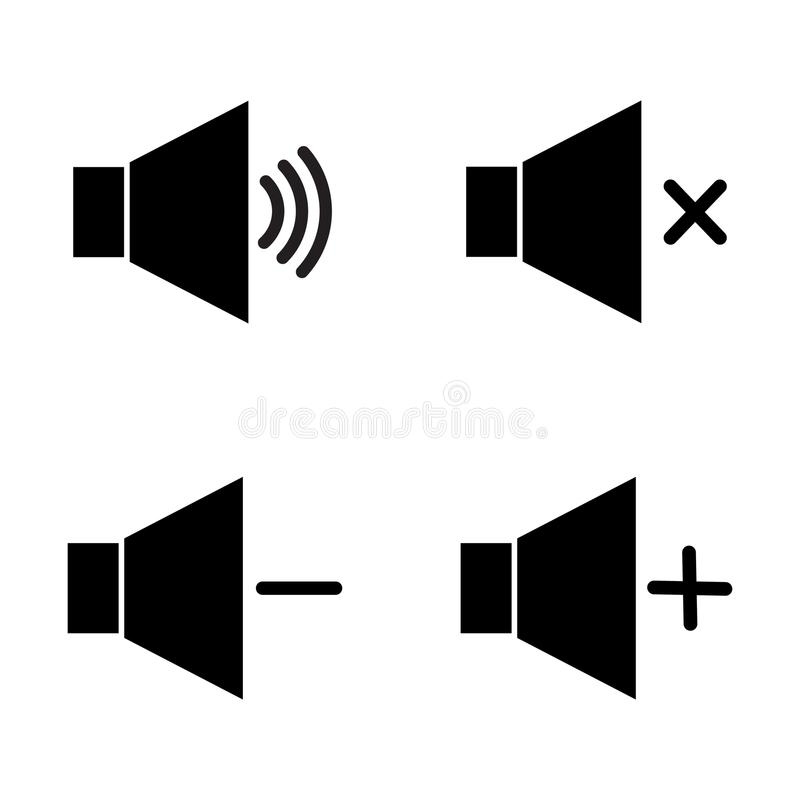 Set Of Speaker Volume Flat Vactor Icon Symbols For On Off Mute