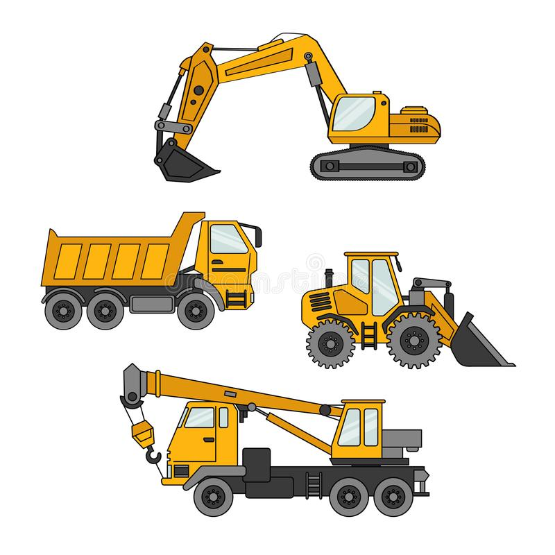 Set of special equipments. Vector set of special equipment. Machines for construction and repair. Set of icons. Cartoon vector illustration stock illustration