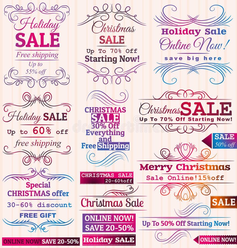 Set of special sale offer labels and banners vector illustration