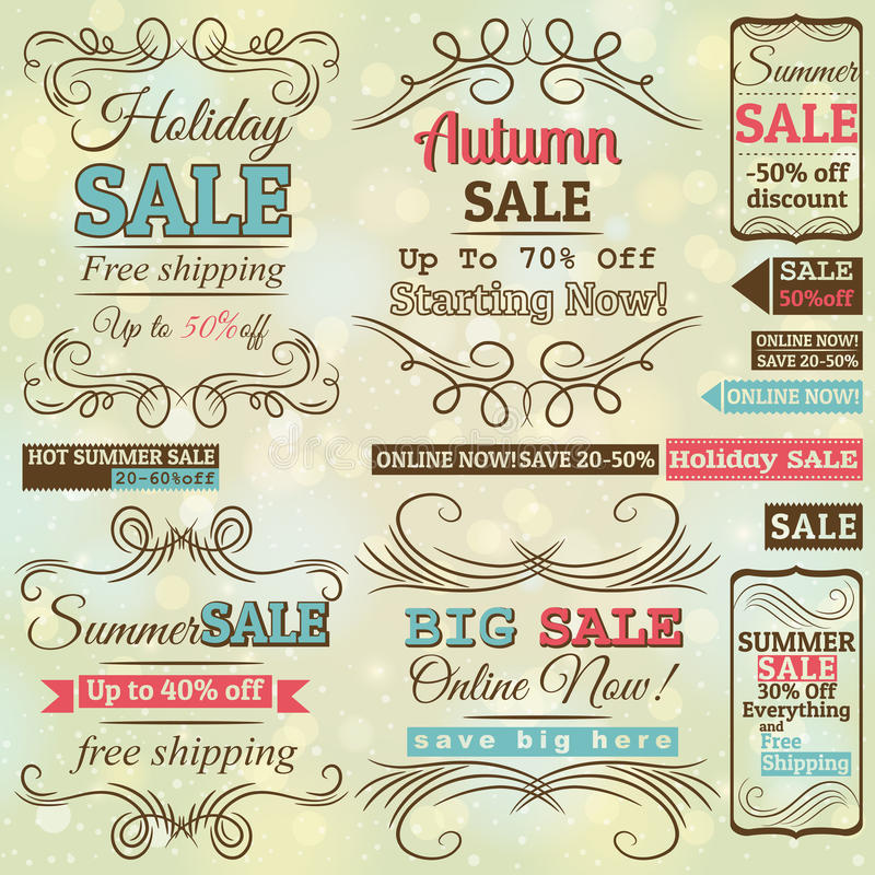 Set of special sale offer labels and banners stock illustration