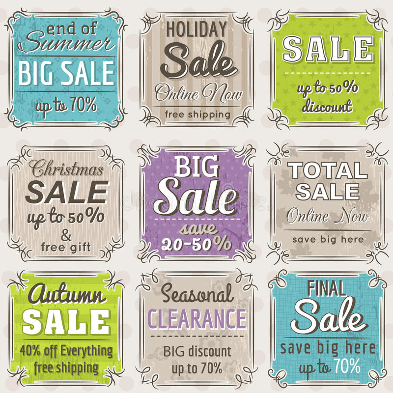 Set of special sale offer labels and banners royalty free illustration