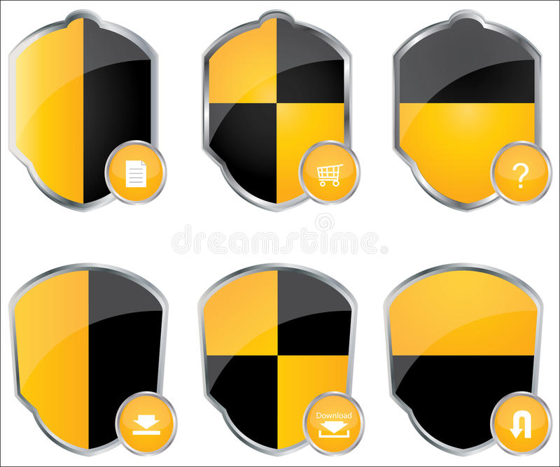 Download Set of special shields stock vector. Image of chrome - 20665937