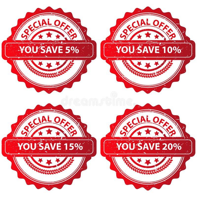 Set specjalnej oferty znaczki ilustracja wektor