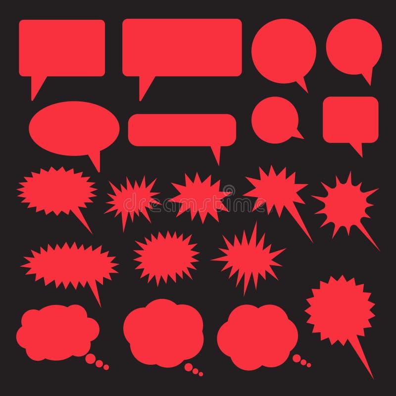 Set of speech bubbles. Blank empty vector white speech bubbles. Cartoon balloon word design. Vector illustration isolated on blue background royalty free illustration