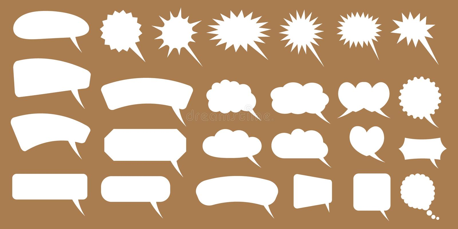 Set of speech bubbles. Blank empty vector white speech bubbles. Cartoon balloon word design. Vector illustration isolated on white background royalty free illustration