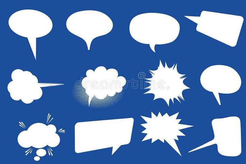 Set of speech bubbles. Blank empty white speech bubbles. Cartoon balloon word design on blue background. Illustration concept. Message, new, collection, comic stock illustration
