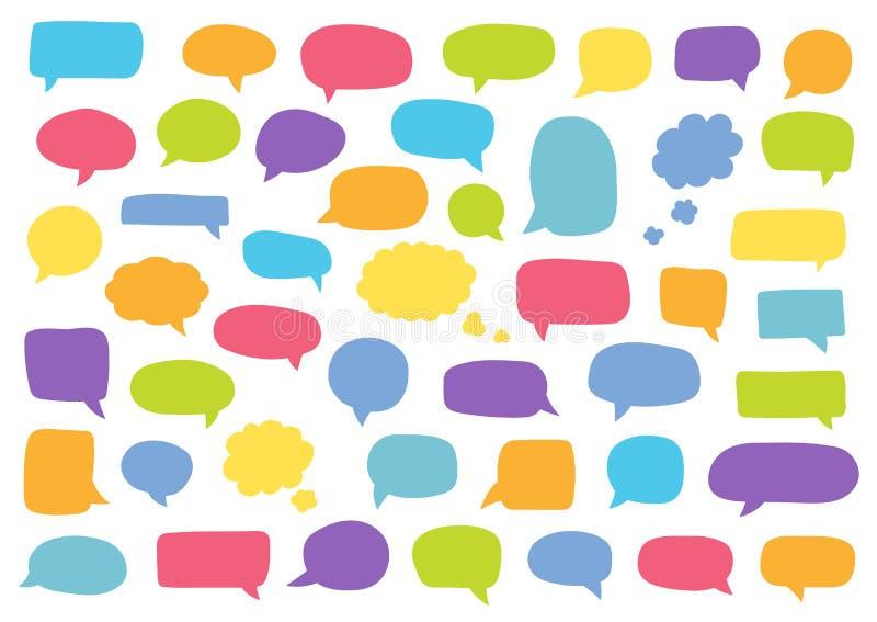 Set of speech bubbles. Blank retro empty comic bubbles. Stickers. Dialog balloons. Vector illustration.  stock illustration