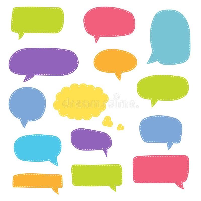 Set of speech bubbles. Blank retro empty comic bubbles. Stickers. Dialog balloons. Vector illustration.  royalty free illustration
