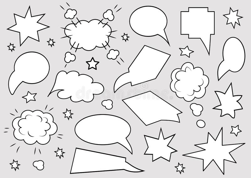 A set of speech bubbles. Set of blank template in pop art style on gray background. Vector illustration stock illustration