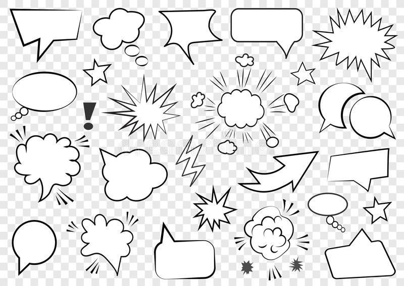 Set of speech bubbles. Set of blank template in Pop Art style. Vector illustration vector illustration