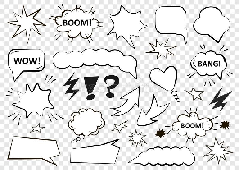 Set of speech bubbles. Set of blank template in Pop Art style. Vector illustration stock illustration