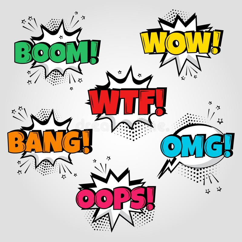 Set of speech bubbles with different emotions and Boom, Wow, Wtf, Bang, Oops words. Vector illustration stock illustration
