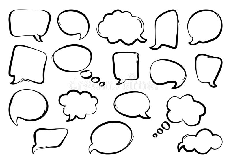 Set of speech bubbles, hand drawn. Vector illustration stock illustration