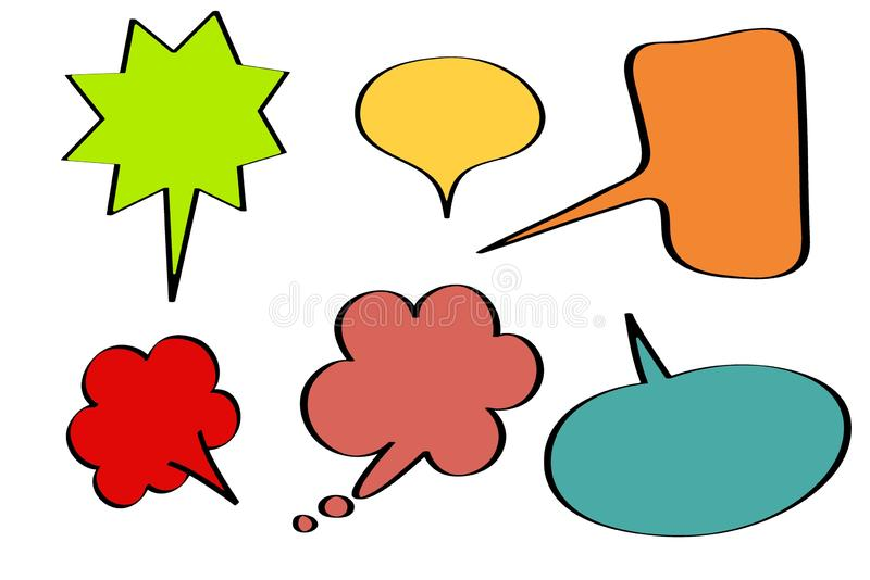 Set of speech bubbles isolated on white background. Illustrations design royalty free stock photo