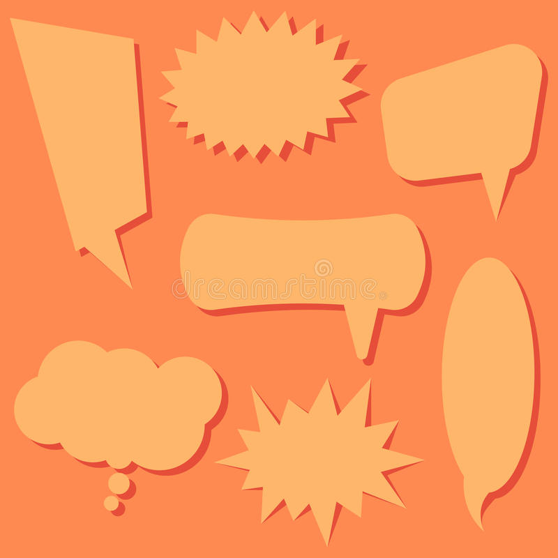 Set of speech bubbles on a orange background. Speech bubbles without phrases. royalty free illustration
