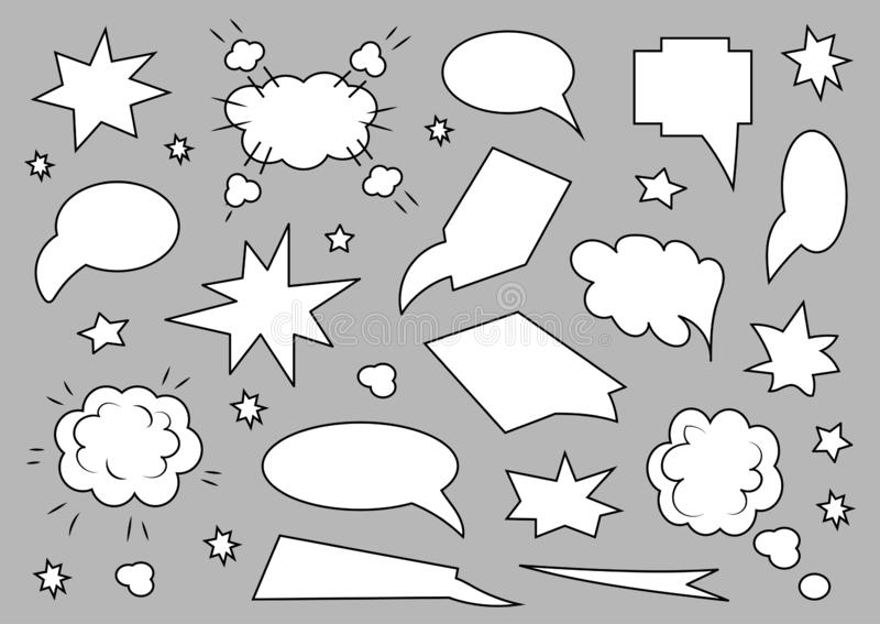A set of speech bubbles. Set of blank template in pop art style on gray background. Vector illustration royalty free illustration
