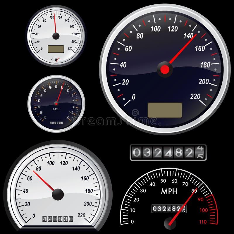 set speedometer vector διανυσματική απεικόνιση