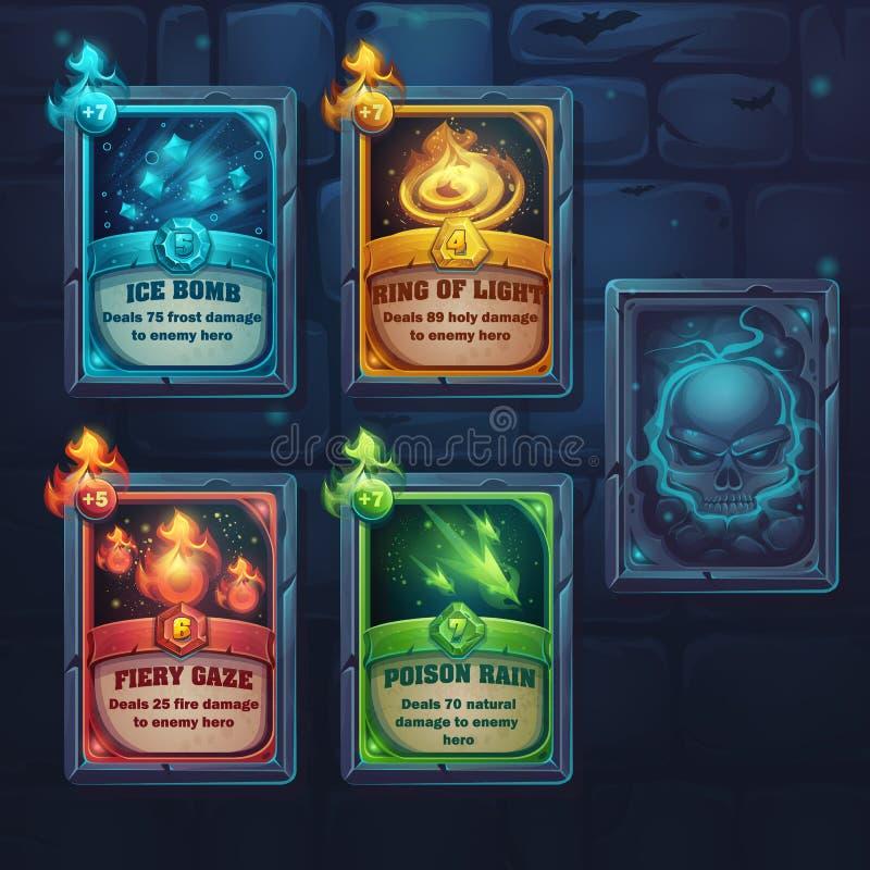 Set spell cards of fiery gaze, poison rain, ice bomb, ring of li. Ght. For web, video games, user interface, design stock illustration