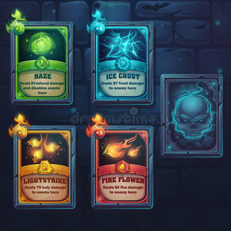 Set spell cards of nature, ice, fire, light royalty free illustration