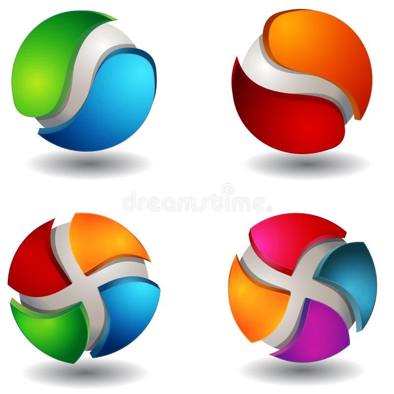 set sphere för abstrakt begrepp 3d royaltyfri illustrationer