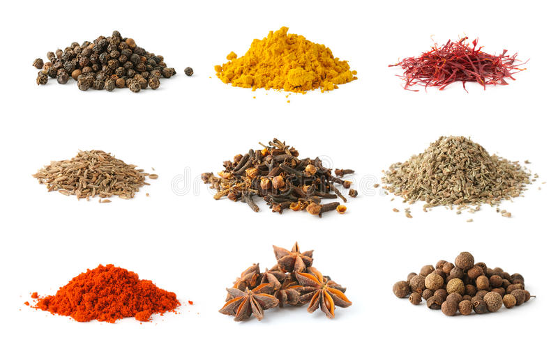 Set of spices 5 royalty free stock photo