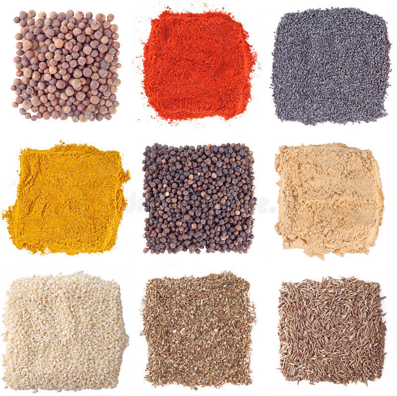 Download Set Of Spices Heaps Isolated Stock Photo - Image: 26644612