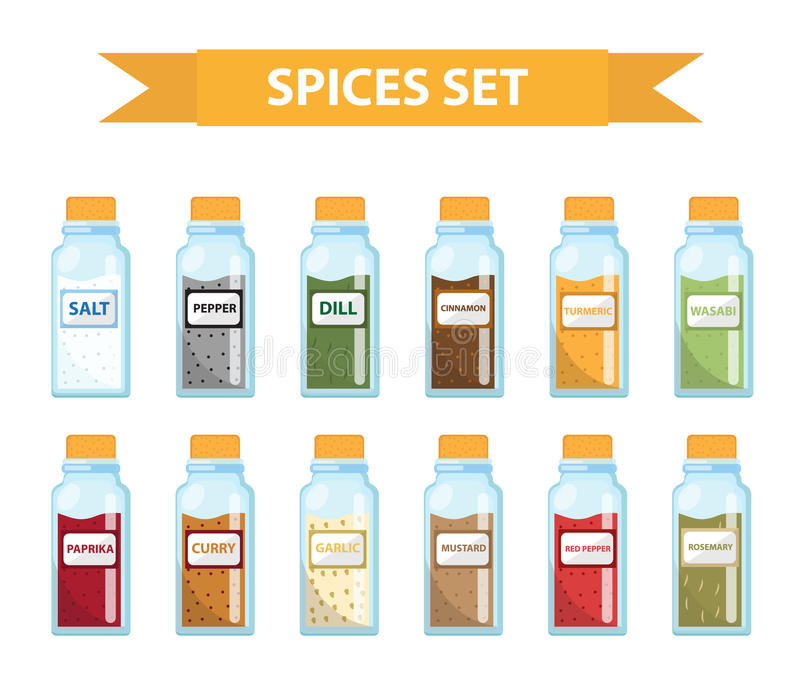 Set spices in jars, flat style. Set of different spices, herbs in a glass jar stock illustration