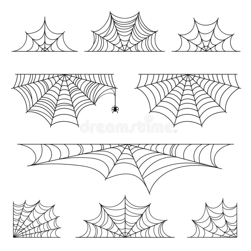 Set of spider web for Halloween. Halloween cobweb, frames and borders, scary elements for decoration royalty free illustration
