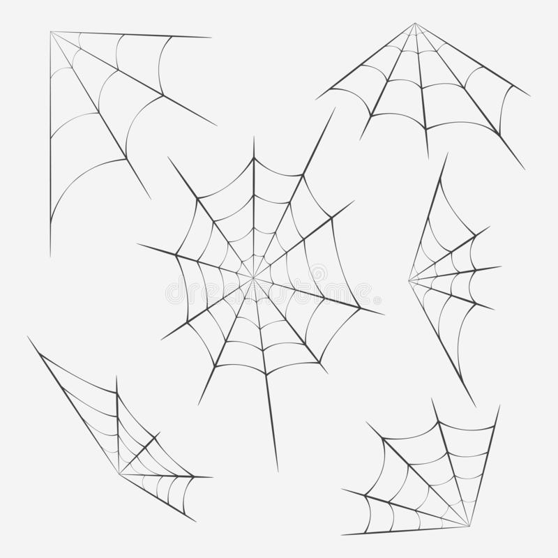 Set of spider webs. Decoration with spider web. Halloween design. Vector image royalty free illustration