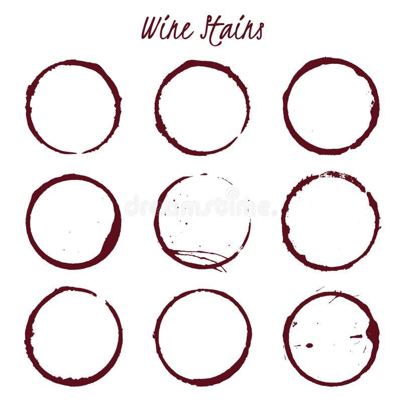 Set of spilled wine stains on white background, vector illustrat stock illustration