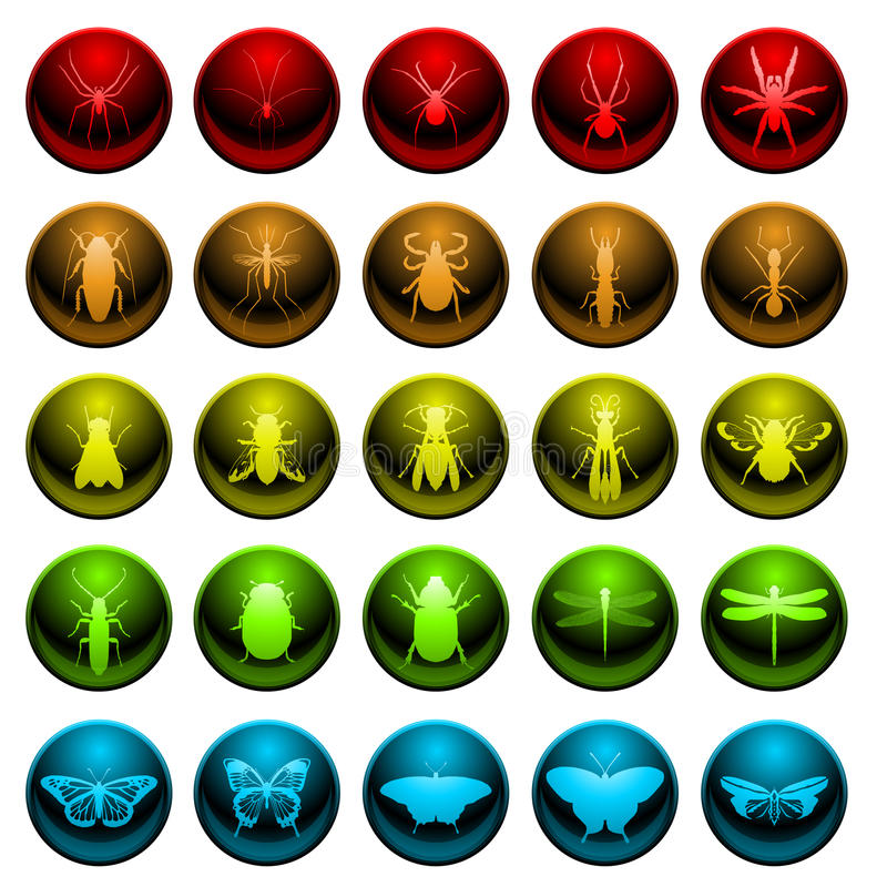 set spindel för symbolskryp stock illustrationer