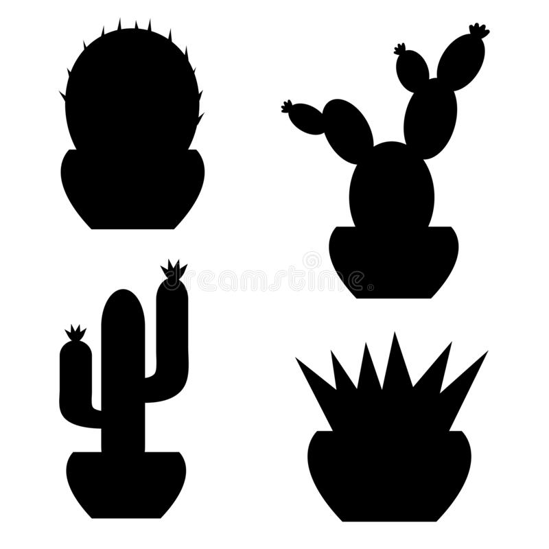 set spiny suckulent typ f?r kaktusv?xt svart silhouette ocks? vektor f?r coreldrawillustration stock illustrationer