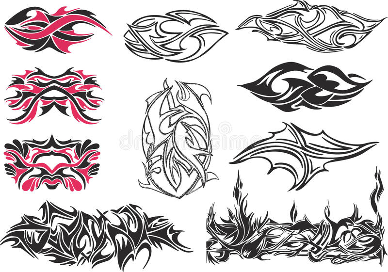 Set spiny tatuaże i ornamenty ilustracja wektor