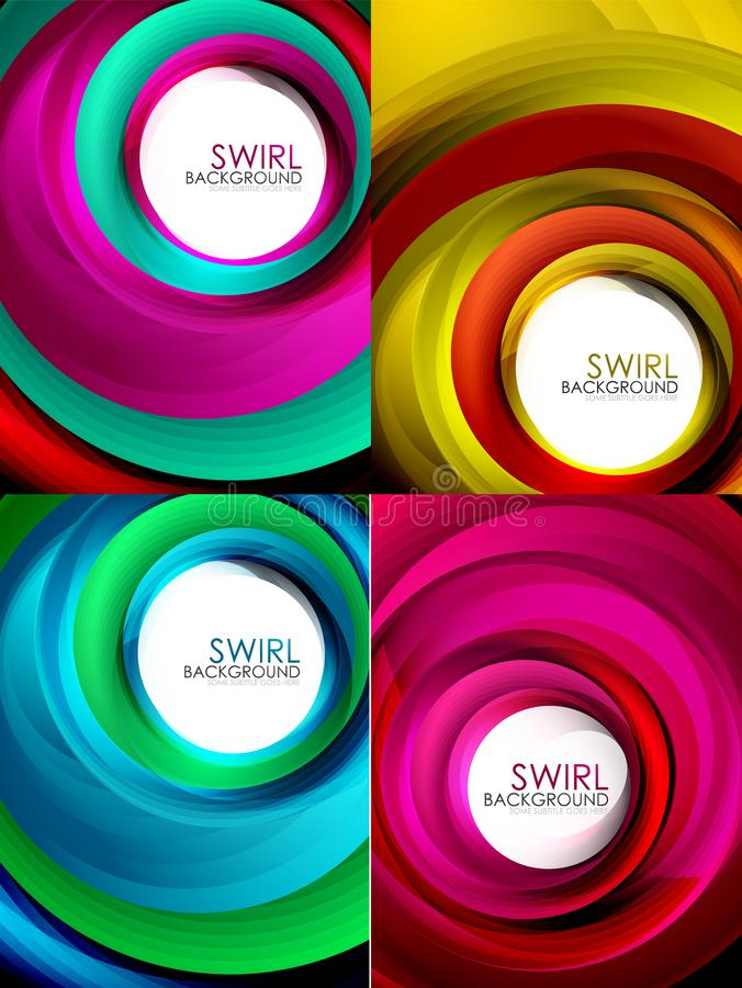 Set of spiral background vector, geometric swirl abstract templates with white copy space. Motion energy concept royalty free illustration