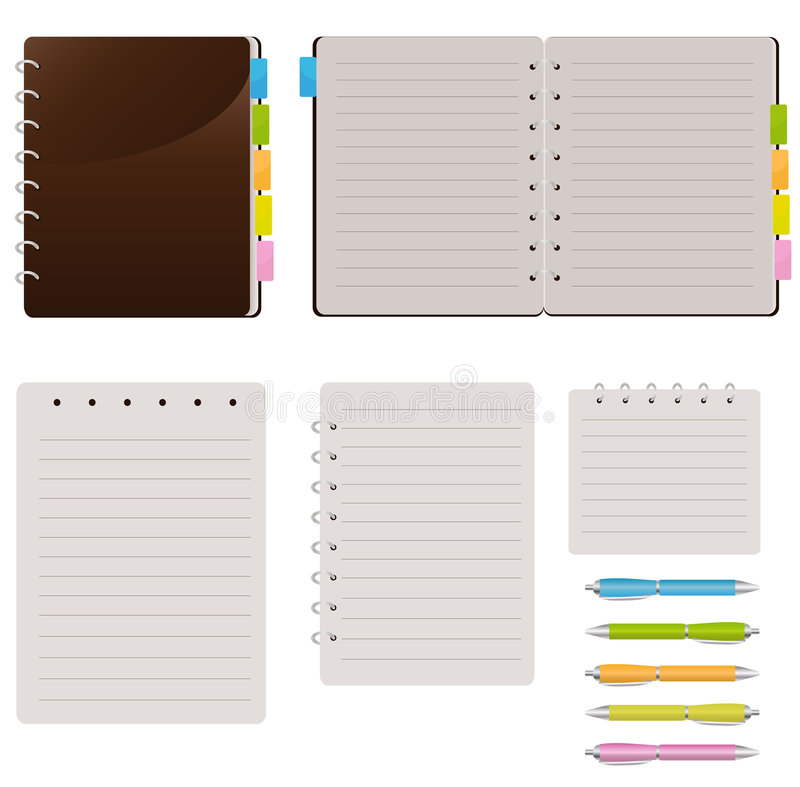 Set Of Spiral Notebooks vector illustration