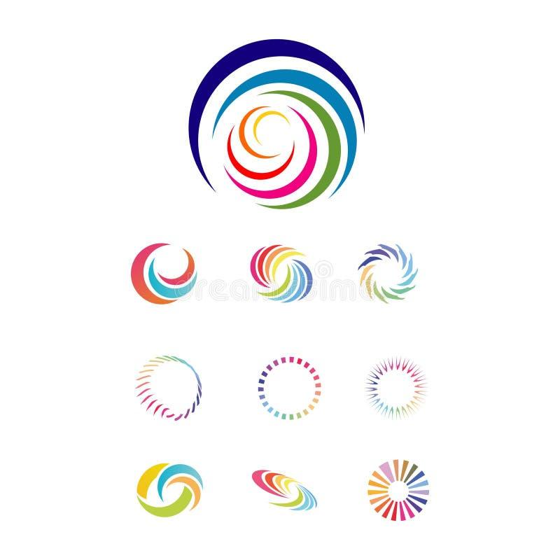 Set of SPIRAL RAINBOW logo design. Logo design vector isolated on white background stock illustration