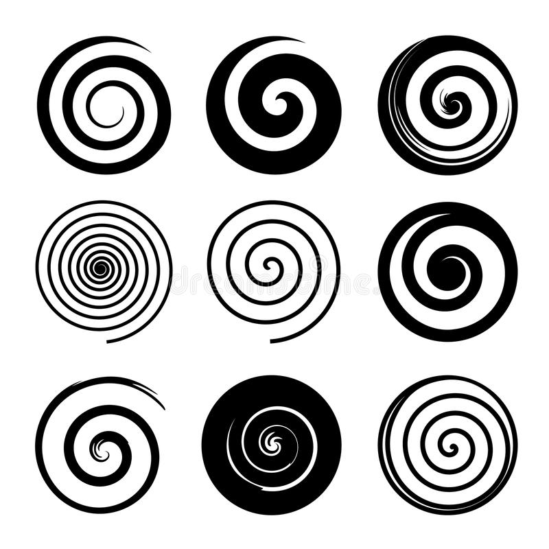 Set of spiral and swirl motion elements, black isolated objects. Different brush textures. Vector illustrations. vector illustration