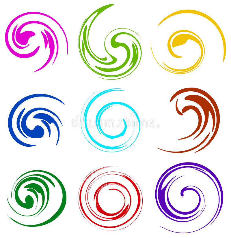Set of spiral, swooshes. 9 different version. vector illustration