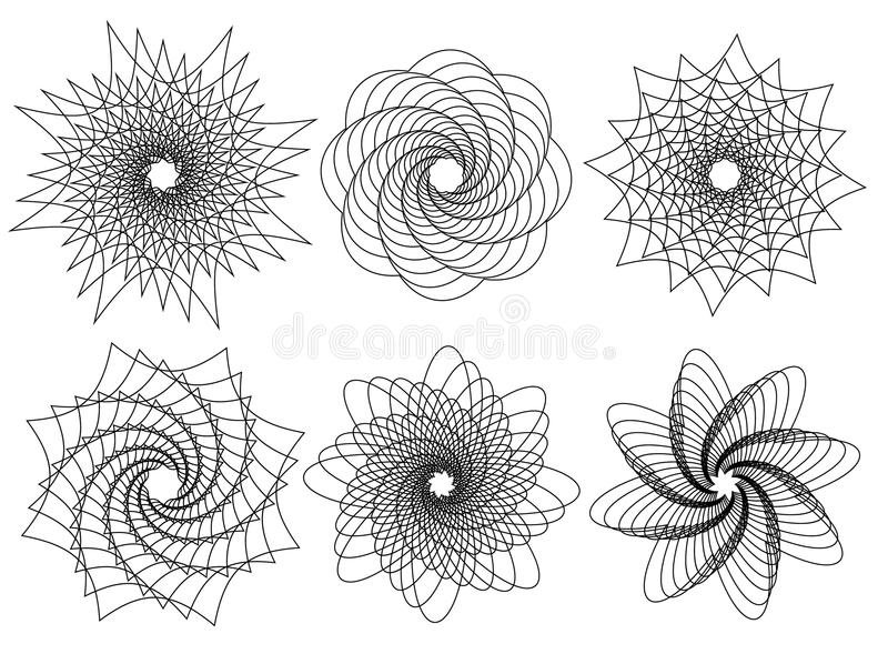 Set of 6 spirally, rotating shapes. abstract geometric forms, el royalty free illustration