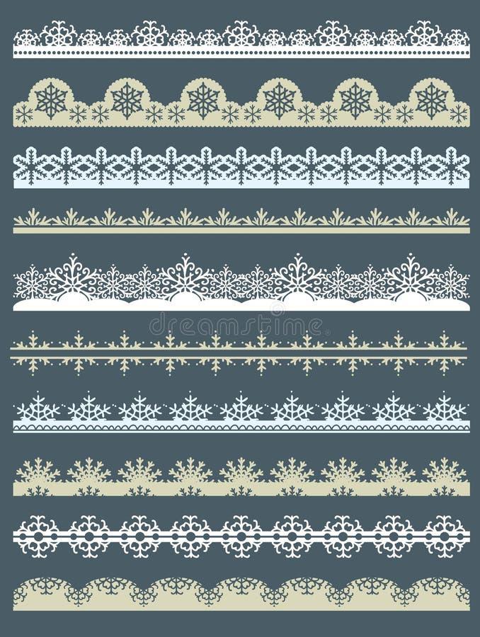 Set Spitze-Papier für Weihnachten, Vektor lizenzfreie abbildung