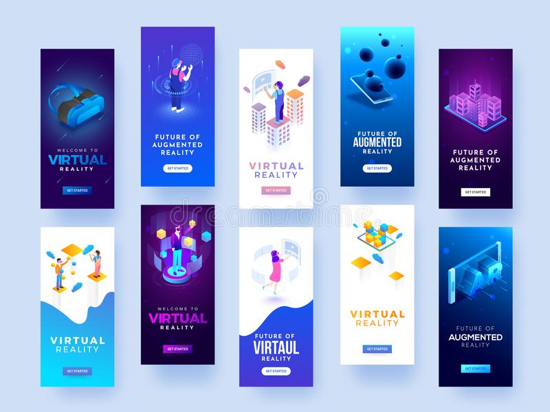 Set of splash screen mockups for virtual or augmented reality co stock illustration