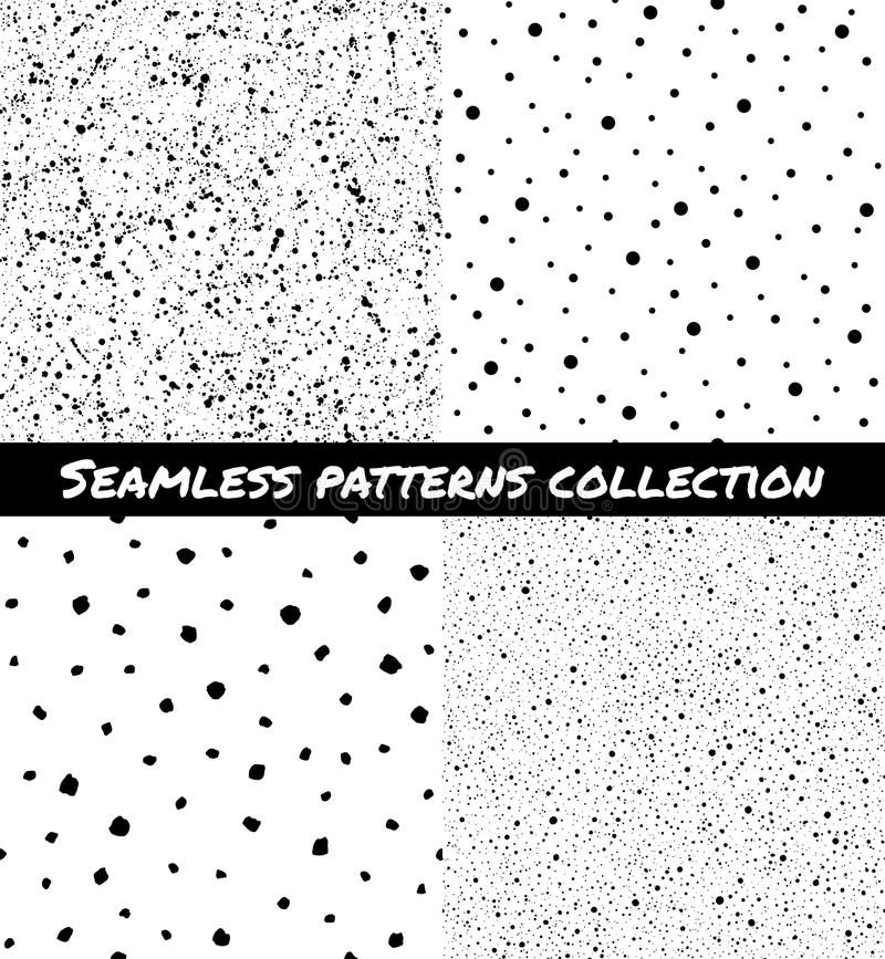 Set of splash, spray, specks, dots seamless patterns. Set, collection of splash, specks, dots, blobs, spots seamless patterns. Black and white chaotic stock illustration