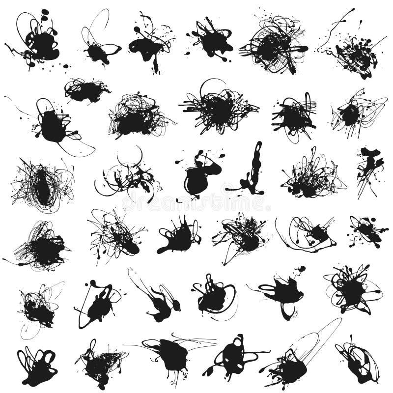 Set of splatter paint stains. On white. Vector Illustration. Acrylic splash, ink spots silhouettes vector illustration