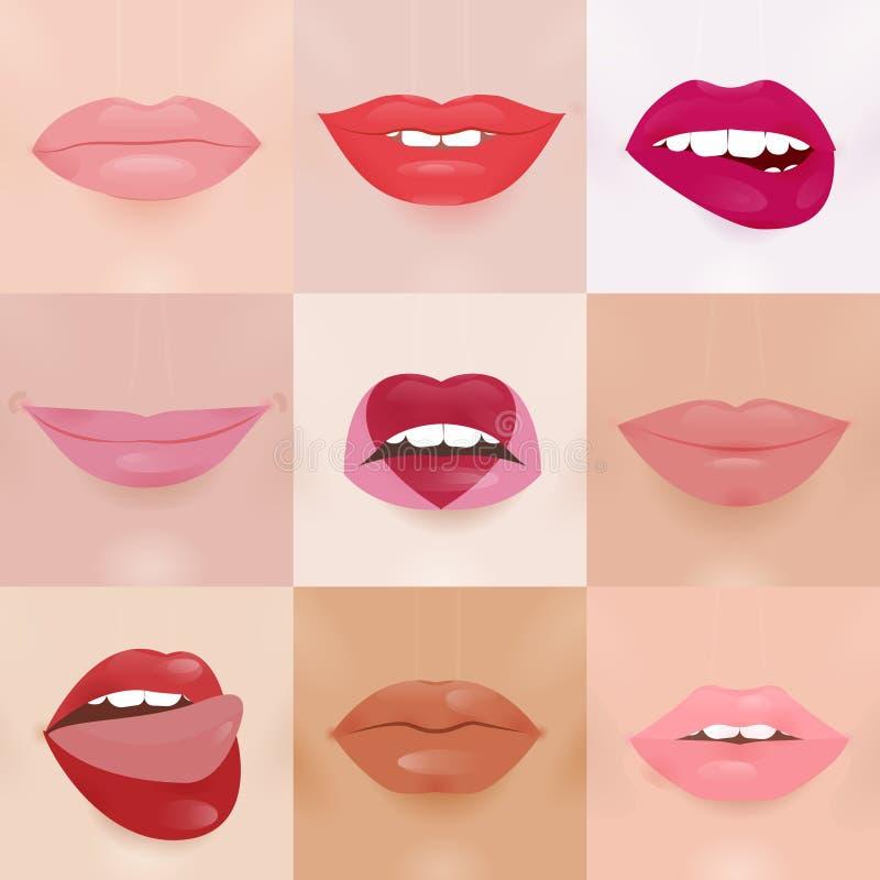 Set splendor wargi z różną pomadką barwi ilustracji